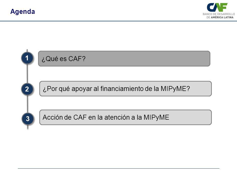 Agenda 1. ¿Qué es CAF ¿Por qué apoyar al financiamiento de la MIPyME 2. Acción de CAF en la atención a la MIPyME.