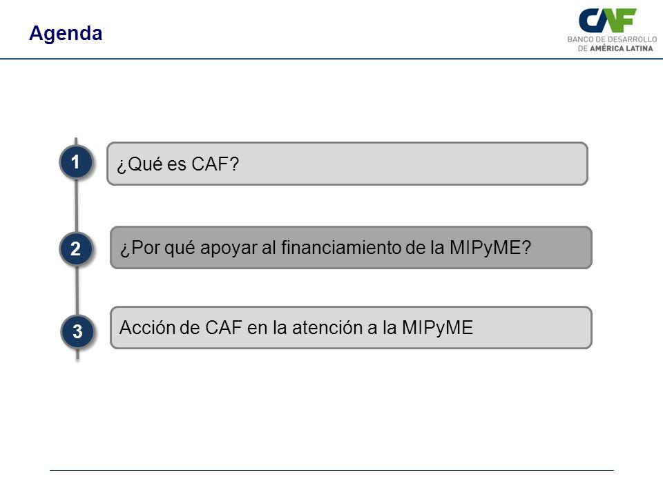 Agenda 1 ¿Qué es CAF ¿Por qué apoyar al financiamiento de la MIPyME