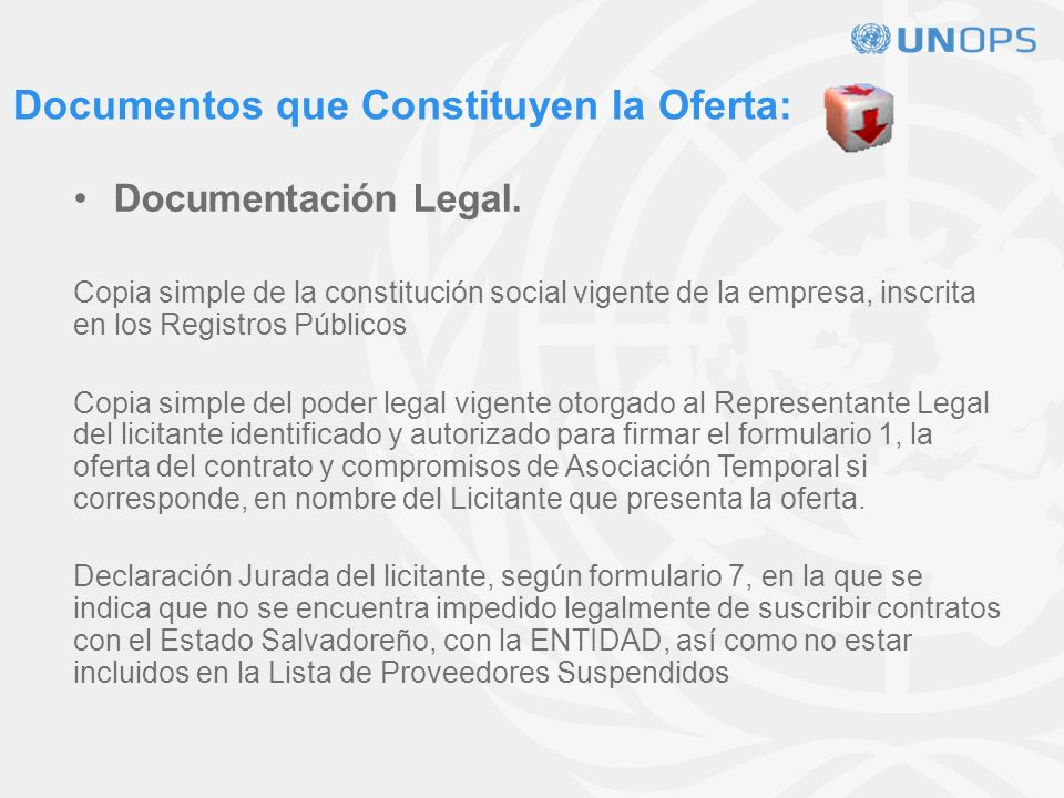 Documentos que Constituyen la Oferta: