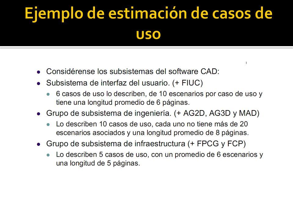 Ejemplo de estimación de casos de uso