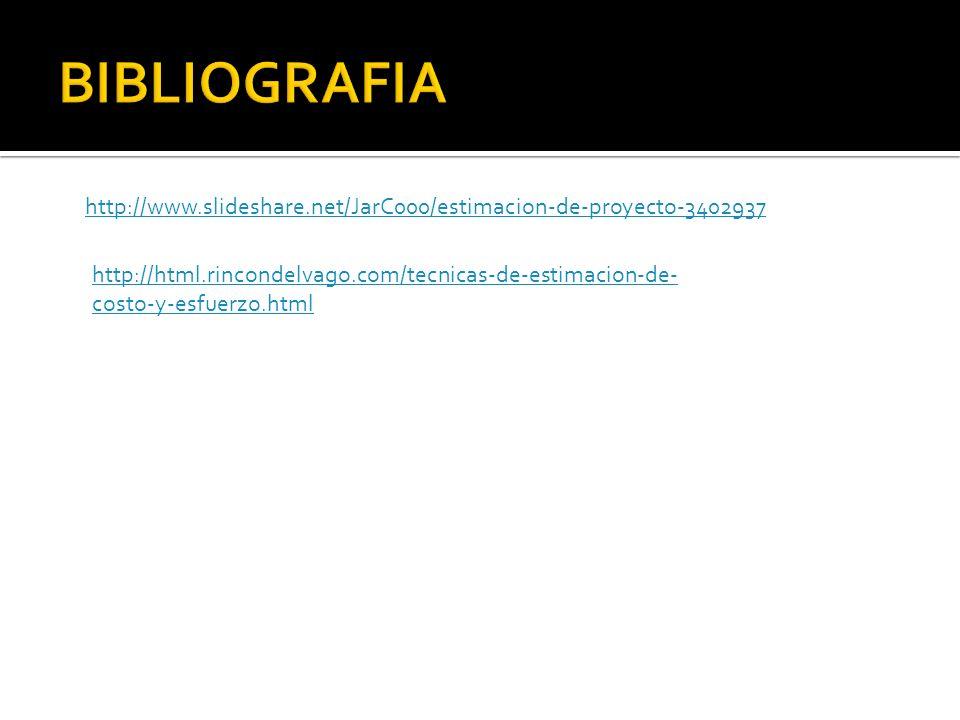 BIBLIOGRAFIA http://www.slideshare.net/JarC000/estimacion-de-proyecto-3402937.