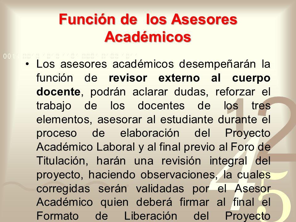 Función de los Asesores Académicos