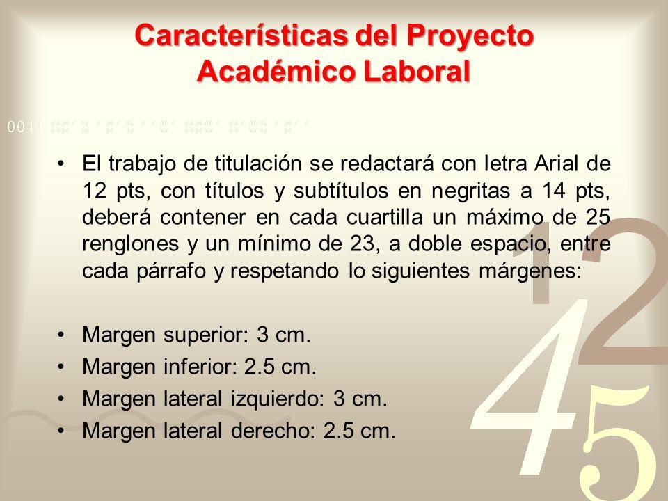 Características del Proyecto Académico Laboral