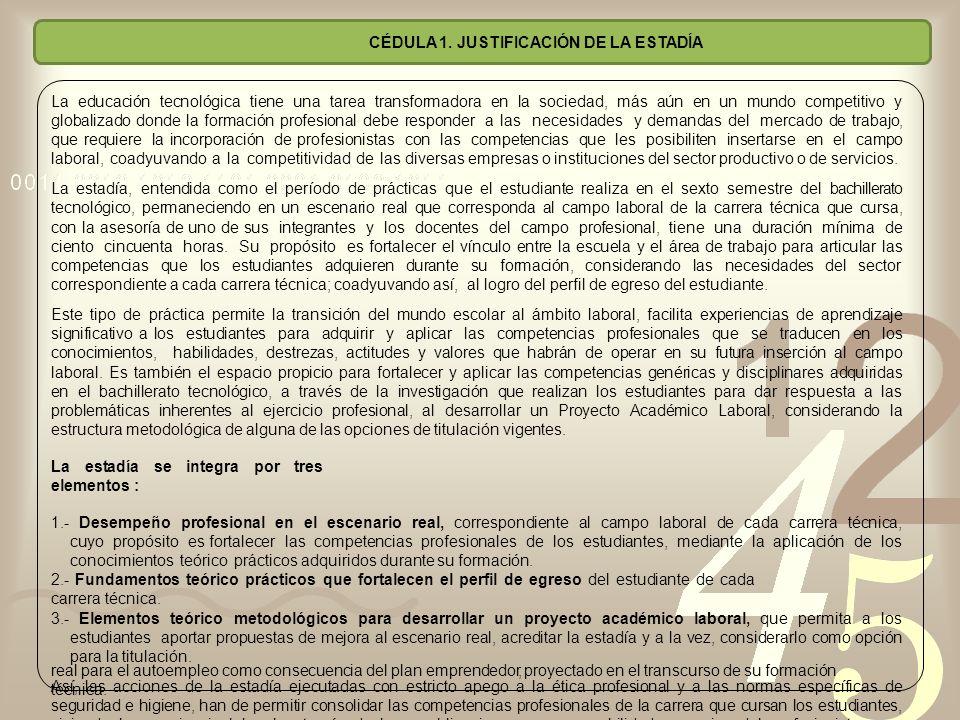 CÉDULA 1. JUSTIFICACIÓN DE LA ESTADÍA