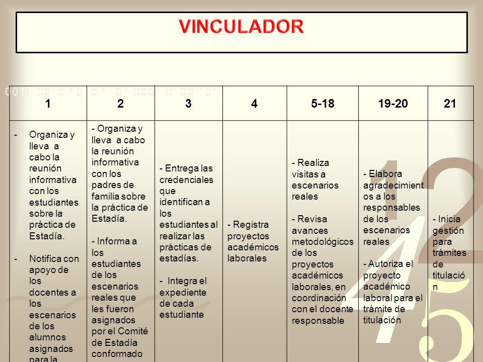 VINCULADOR 1. 2. 3. 4. 5-18. 19-20. 21. Organiza y lleva a cabo la reunión informativa con los estudiantes sobre la práctica de Estadía.