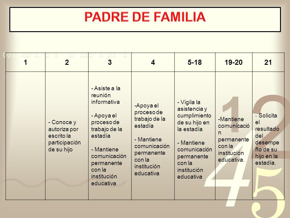 PADRE DE FAMILIA 1. 2. 3. 4. 5-18. 19-20. 21. - Conoce y autoriza por escrito la participación de su hijo.