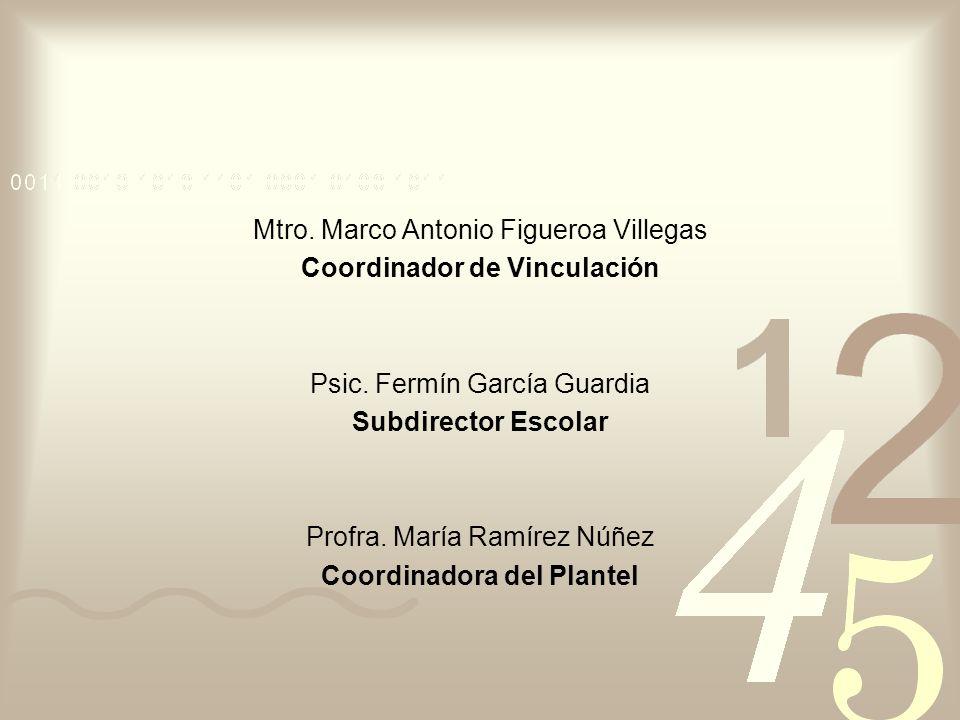 Mtro. Marco Antonio Figueroa Villegas Coordinador de Vinculación Psic