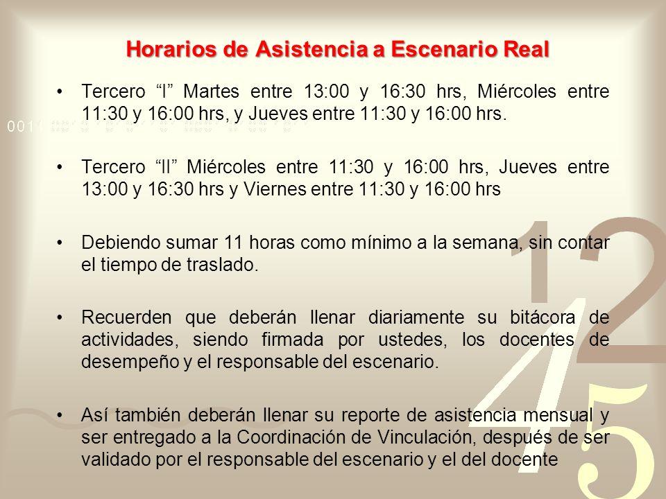 Horarios de Asistencia a Escenario Real