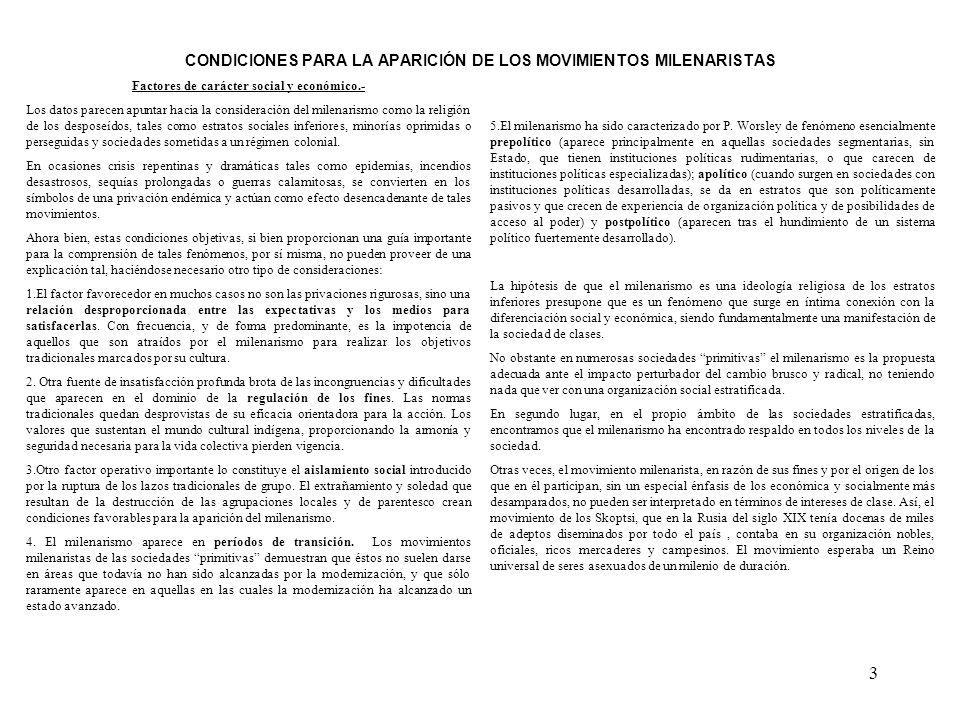 CONDICIONES PARA LA APARICIÓN DE LOS MOVIMIENTOS MILENARISTAS