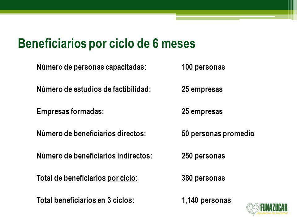 Beneficiarios por ciclo de 6 meses