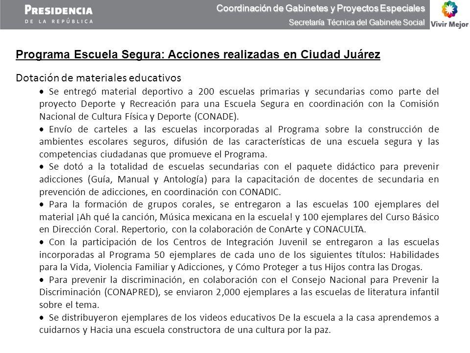 Programa Escuela Segura: Acciones realizadas en Ciudad Juárez