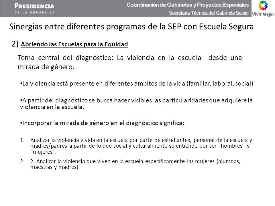 Sinergias entre diferentes programas de la SEP con Escuela Segura