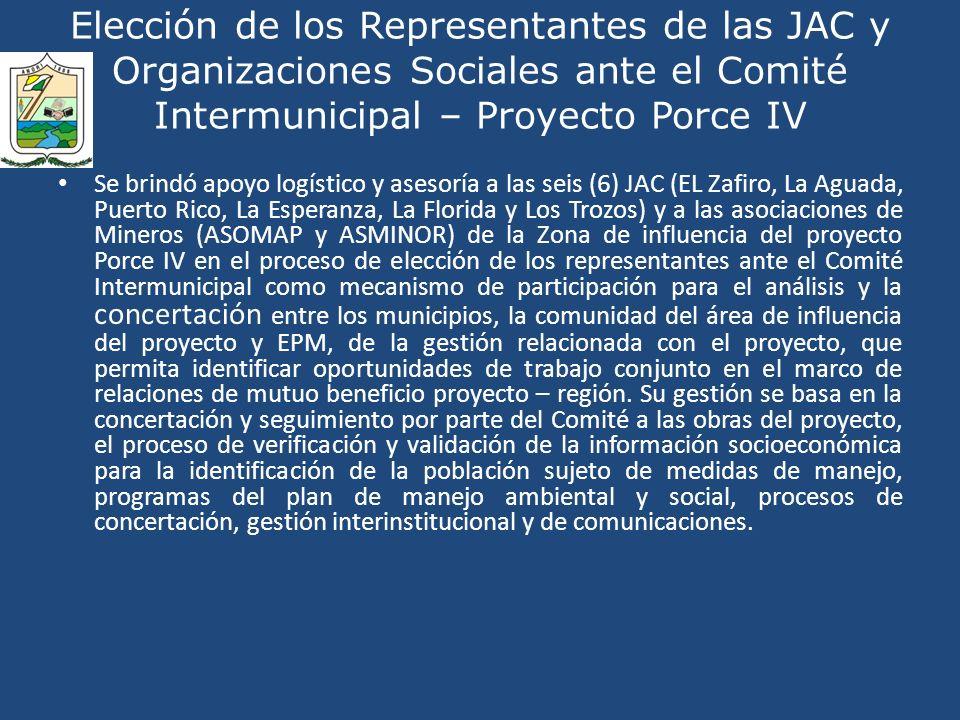 Elección de los Representantes de las JAC y Organizaciones Sociales ante el Comité Intermunicipal – Proyecto Porce IV