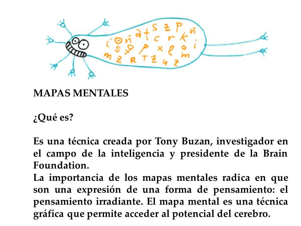 MAPAS MENTALES ¿Qué es Es una técnica creada por Tony Buzan, investigador en el campo de la inteligencia y presidente de la Brain Foundation.