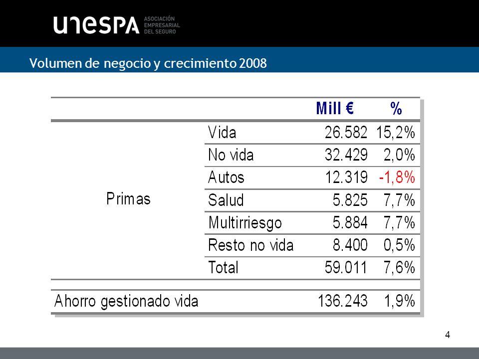 Volumen de negocio y crecimiento 2008