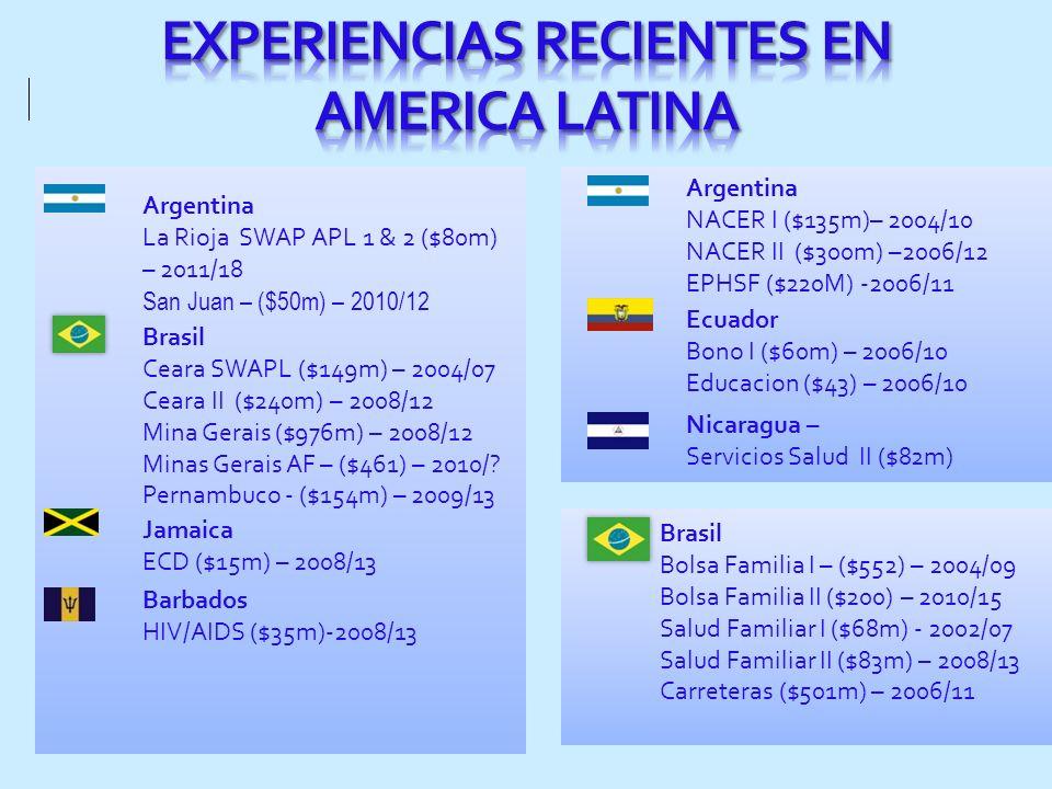 EXPERIENCIAS RECIENTES EN AMERICA LATINA