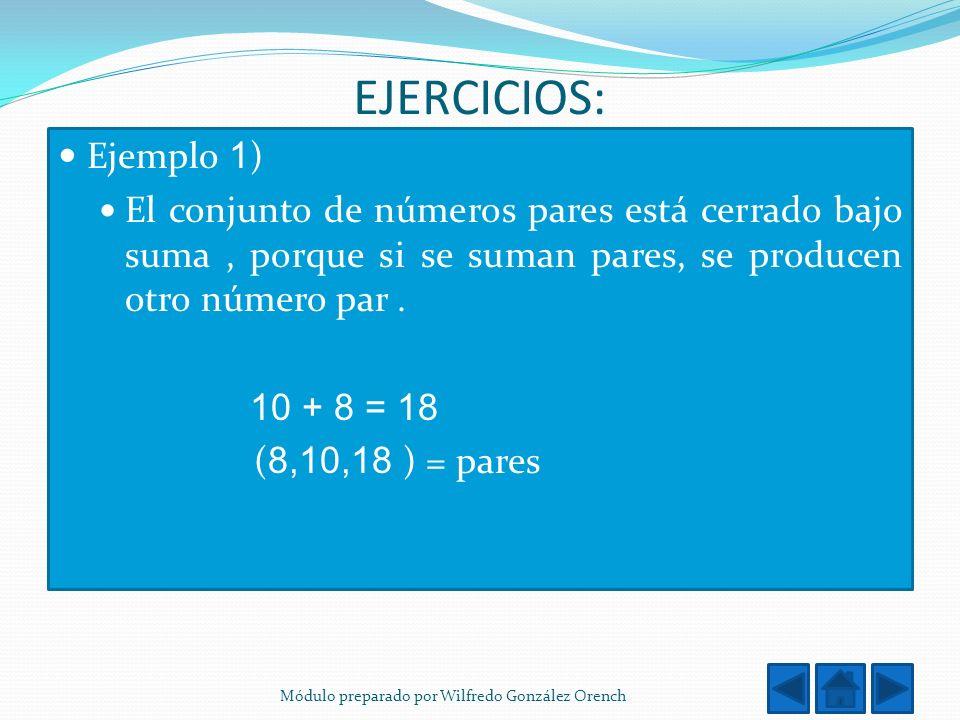 Ejemplo 1) El conjunto de números pares está cerrado bajo suma , porque si se suman pares, se producen otro número par .