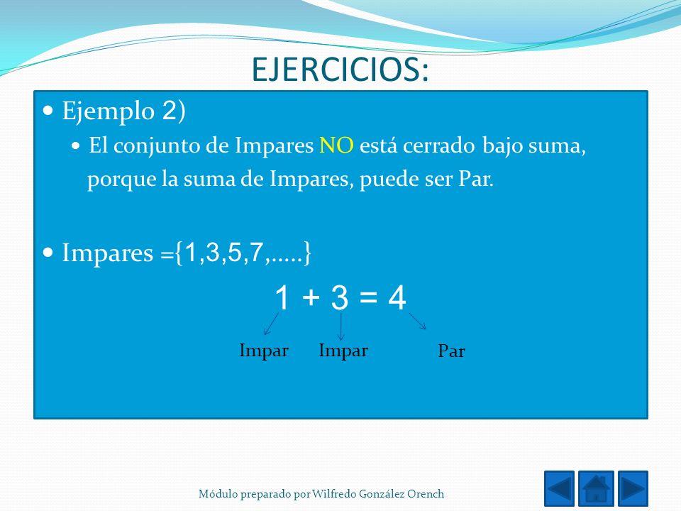 EJERCICIOS: 1 + 3 = 4 Ejemplo 2) Impares ={1,3,5,7,…..}