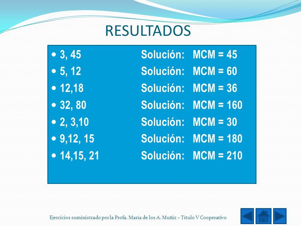 RESULTADOS 3, 45 Solución: MCM = 45 5, 12 Solución: MCM = 60