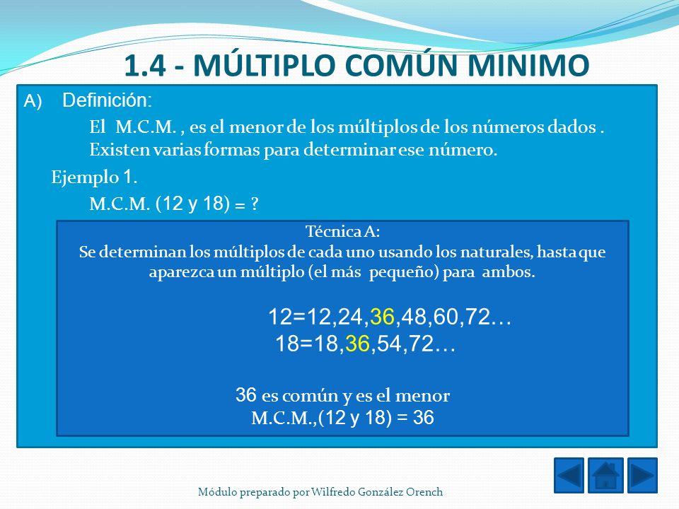 1.4 - MÚLTIPLO COMÚN MINIMO
