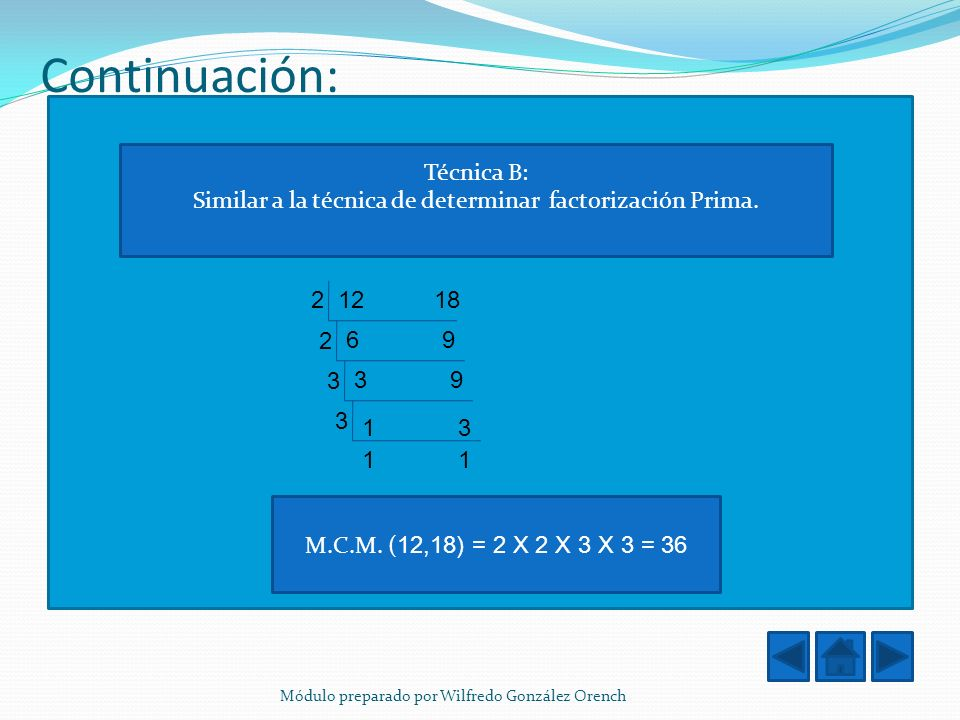 Similar a la técnica de determinar factorización Prima.