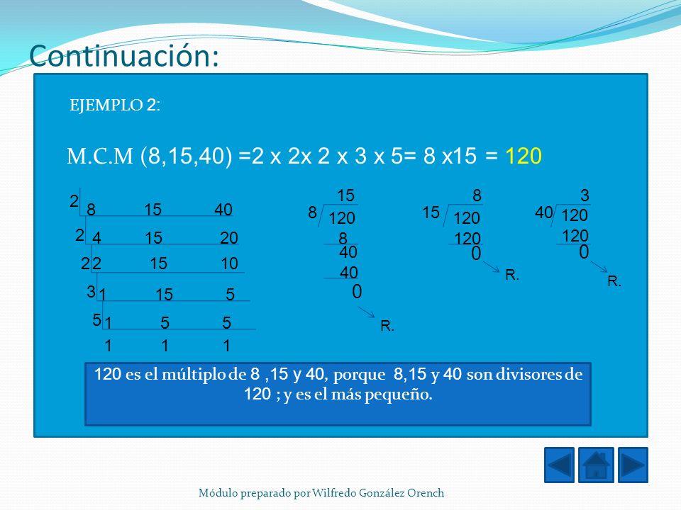 Continuación: M.C.M (8,15,40) =2 x 2x 2 x 3 x 5= 8 x15 = 120