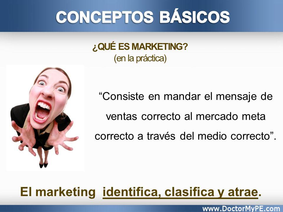 El marketing identifica, clasifica y atrae.