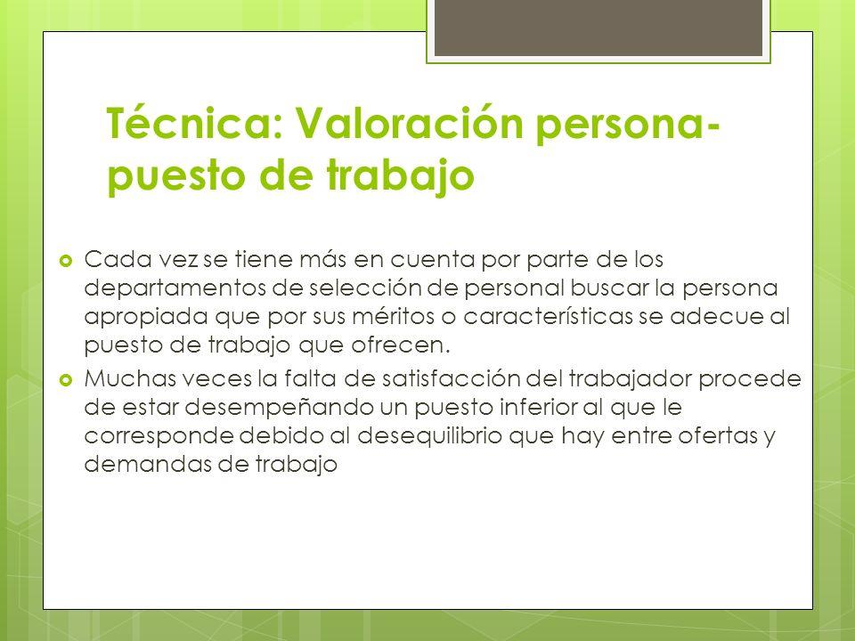 Técnica: Valoración persona-puesto de trabajo