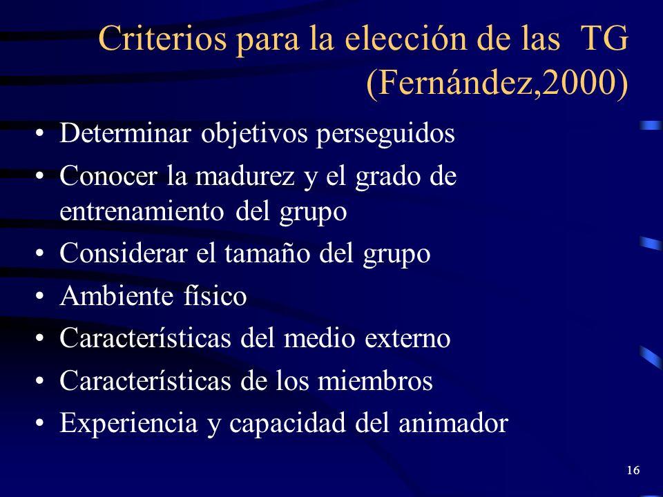 Criterios para la elección de las TG (Fernández,2000)