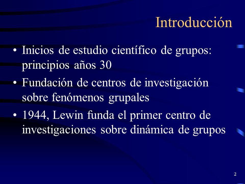 Introducción Inicios de estudio científico de grupos: principios años 30. Fundación de centros de investigación sobre fenómenos grupales.