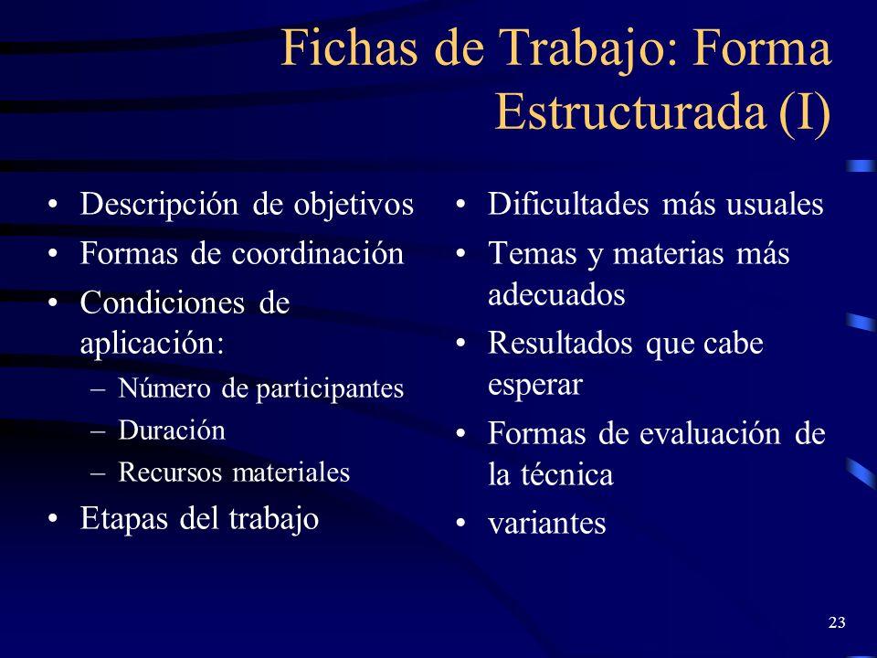 Fichas de Trabajo: Forma Estructurada (I)