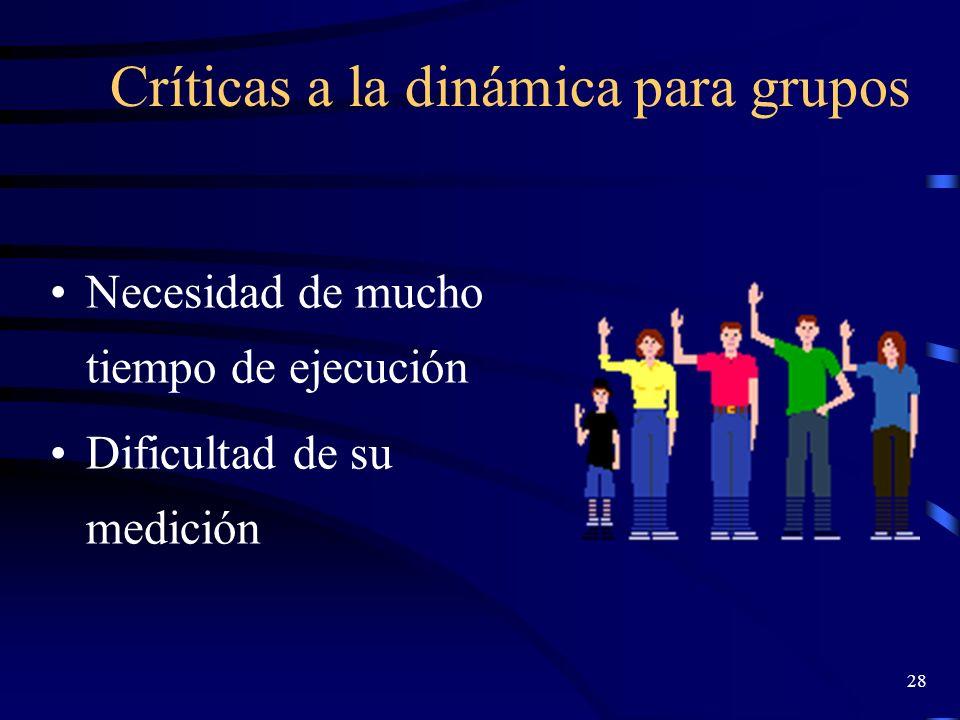 Críticas a la dinámica para grupos