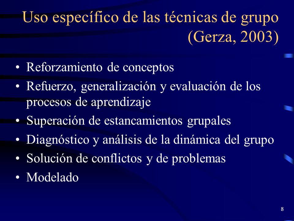 Uso específico de las técnicas de grupo (Gerza, 2003)