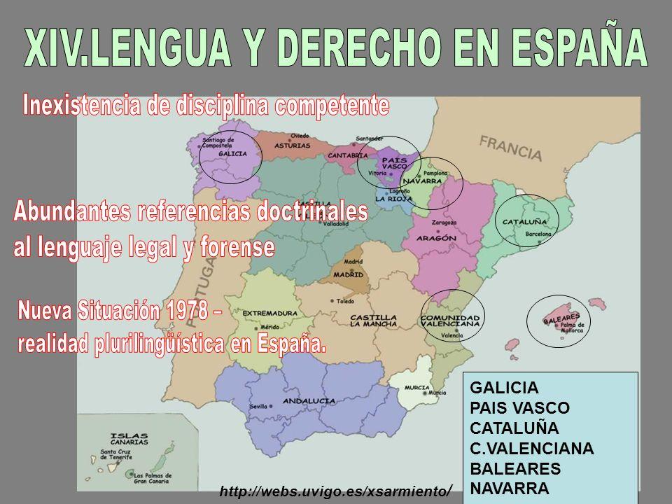 XIV.LENGUA Y DERECHO EN ESPAÑA