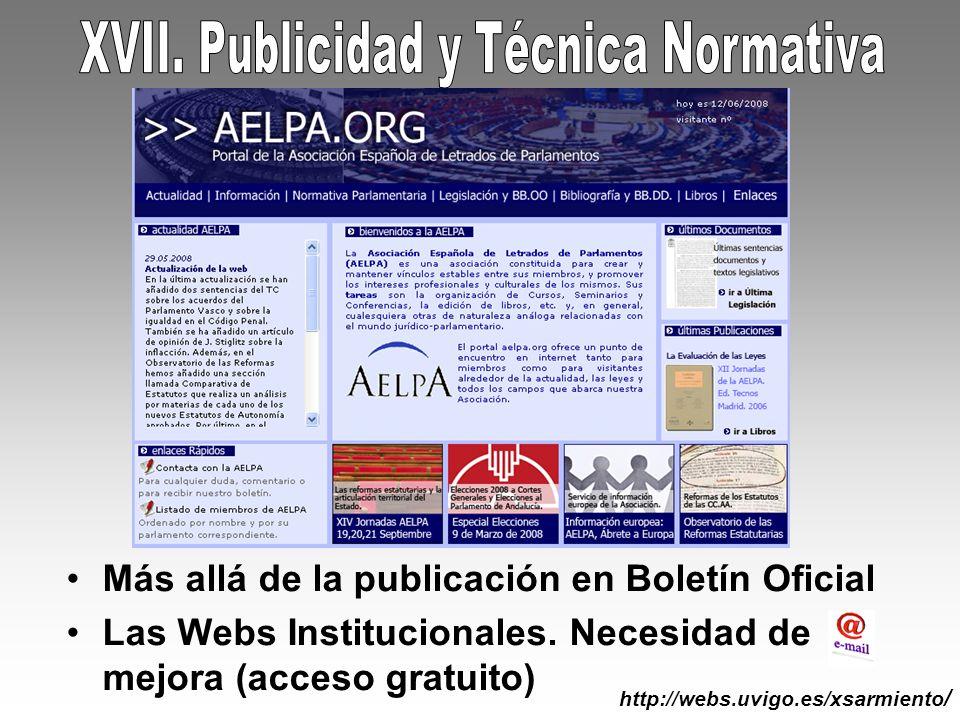 XVII. Publicidad y Técnica Normativa