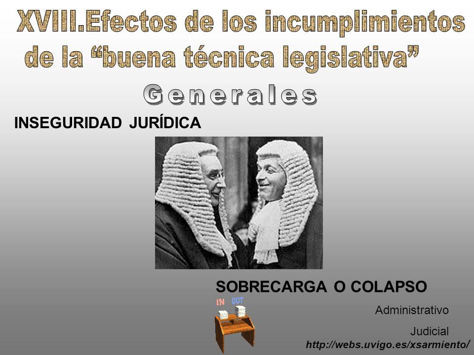 XVIII.Efectos de los incumplimientos de la buena técnica legislativa