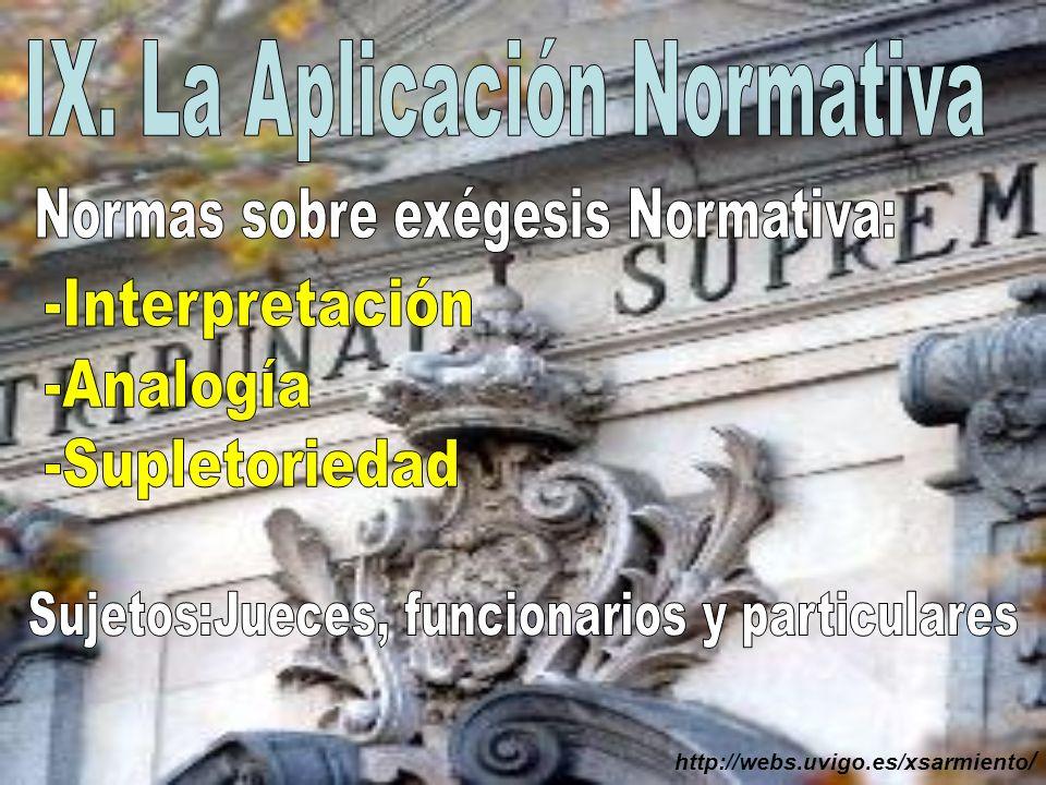 IX. La Aplicación Normativa
