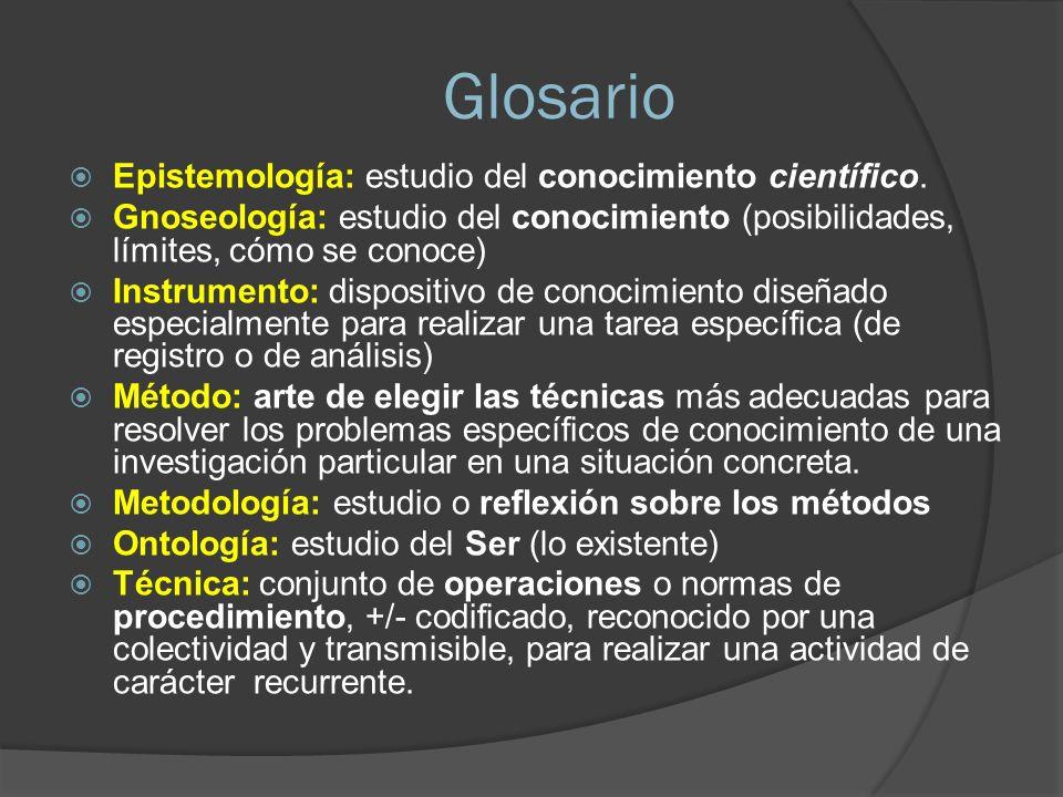 Glosario Epistemología: estudio del conocimiento científico.