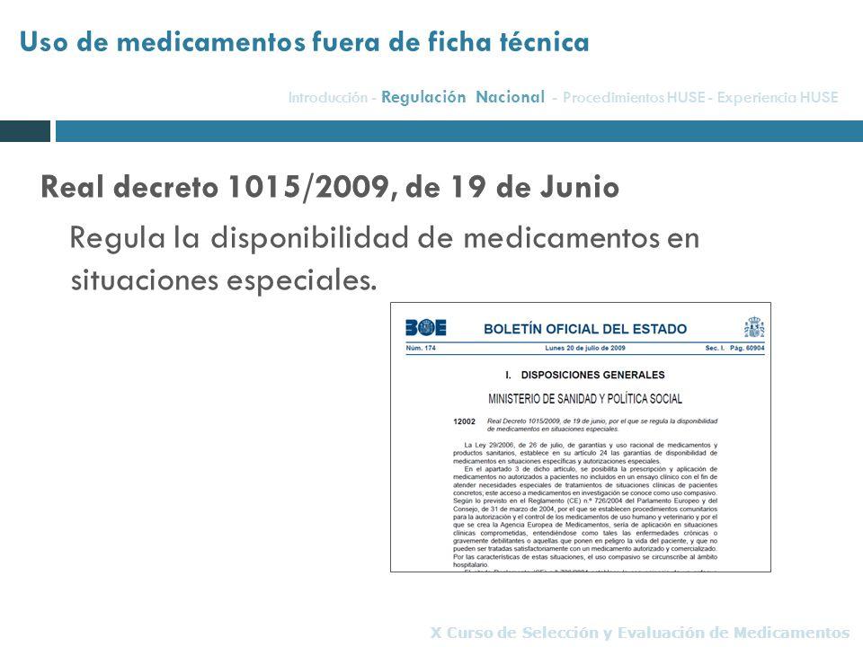 Real decreto 1015/2009, de 19 de Junio