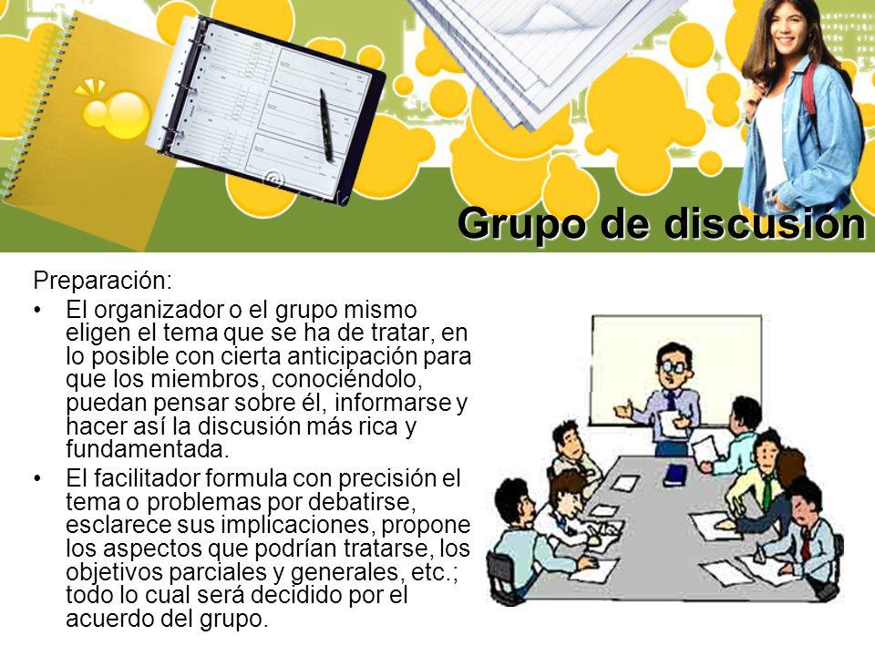 Grupo de discusión Preparación:
