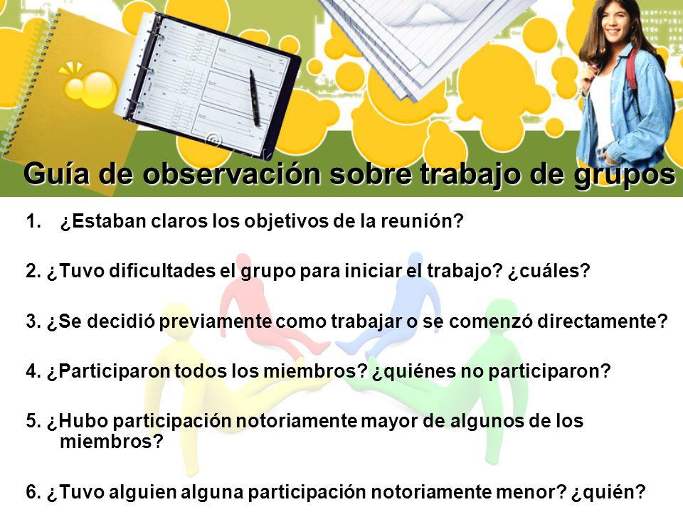 Guía de observación sobre trabajo de grupos