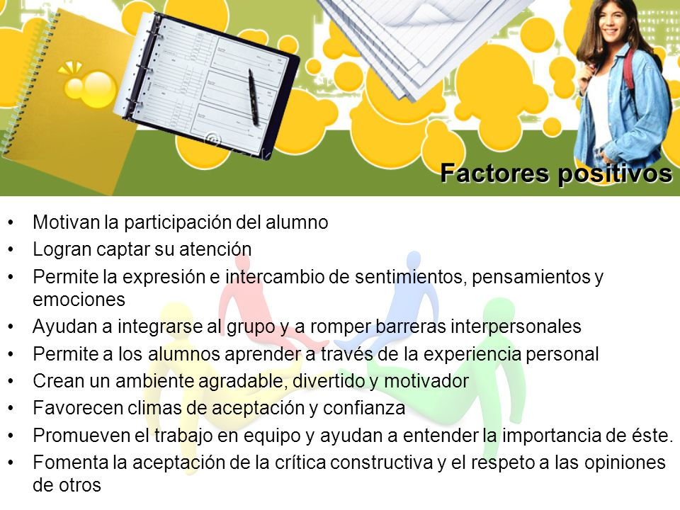 Factores positivos Motivan la participación del alumno