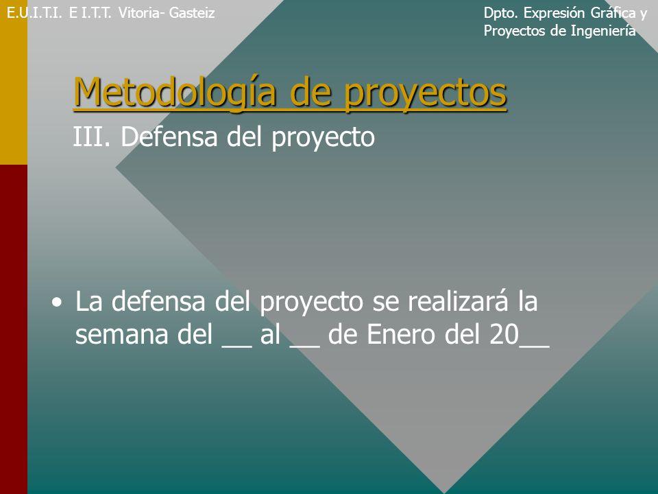 Metodología de proyectos III. Defensa del proyecto