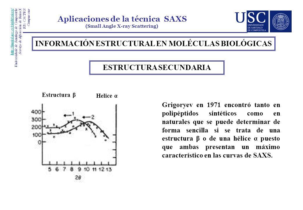 INFORMACIÓN ESTRUCTURAL EN MOLÉCULAS BIOLÓGICAS