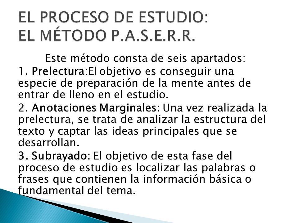 EL PROCESO DE ESTUDIO: EL MÉTODO P.A.S.E.R.R.