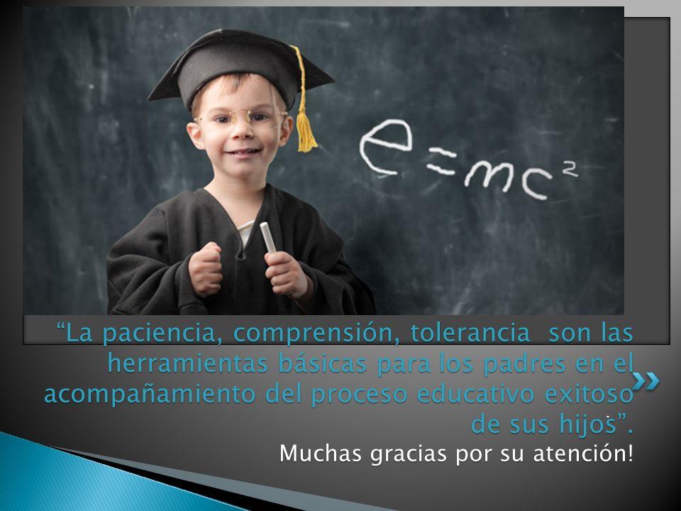 La paciencia, comprensión, tolerancia son las herramientas básicas para los padres en el acompañamiento del proceso educativo exitoso de sus hijos . Muchas gracias por su atención!