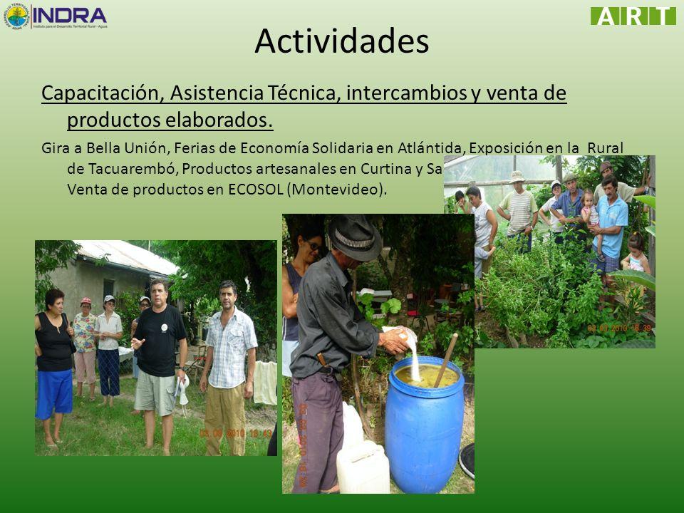 Actividades Capacitación, Asistencia Técnica, intercambios y venta de productos elaborados.
