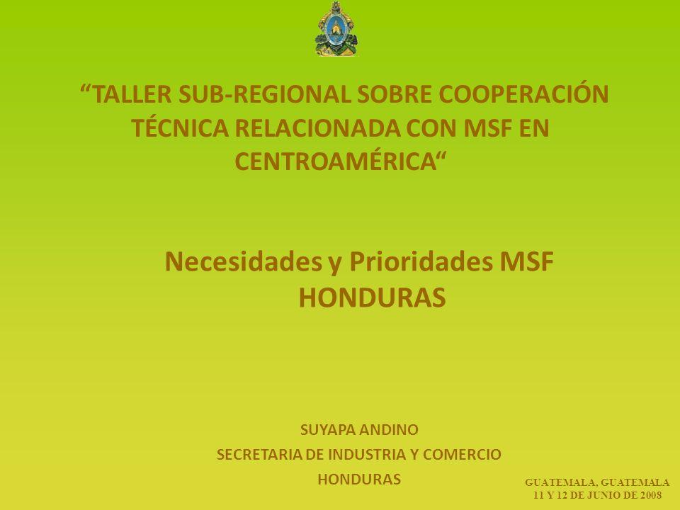 TALLER SUB-REGIONAL SOBRE COOPERACIÓN TÉCNICA RELACIONADA CON MSF EN CENTROAMÉRICA