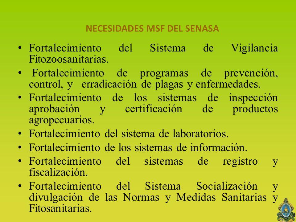 NECESIDADES MSF DEL SENASA