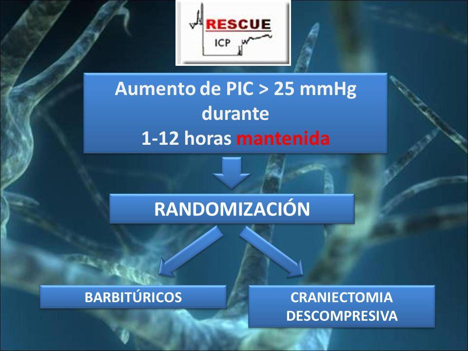 Aumento de PIC > 25 mmHg CRANIECTOMIA DESCOMPRESIVA